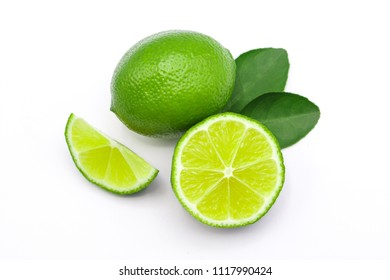 lime and lime slice isolated on white background.