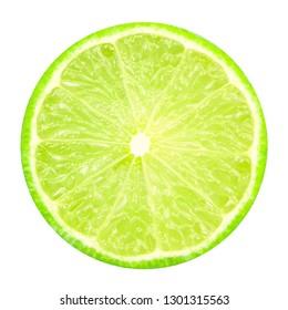 lime slice isolated on white background.