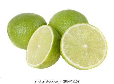 Lime and slice, Isolated on white background