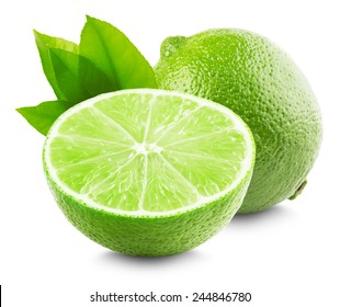 Lime with slice and leaves isolated on white background