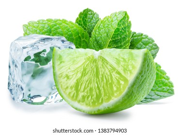 Lime slice, mint leaves and ice cube isolated on the white background.