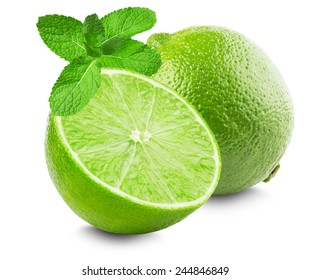 Lime with slice and mint leaves isolated on white background