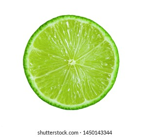 lime slice on isolated white background
