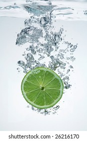 lime slice in a water