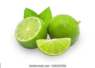 lime and slice with water drop isolated on white clipping path.