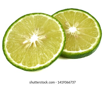 Lime sliced isolated on white background.
