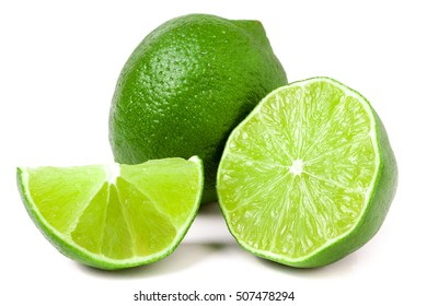 lime with slices and half isolated on white background