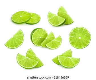 lime slices isolated