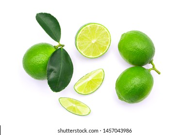 lime and slices isolated on white background , top view , flat lay.