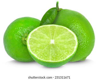 lime and slices isolated on white