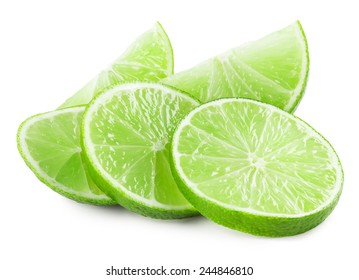 lime slices isolated on white background