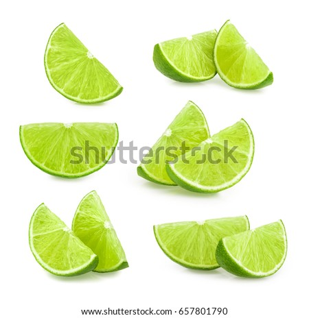 lime slices isolated. set