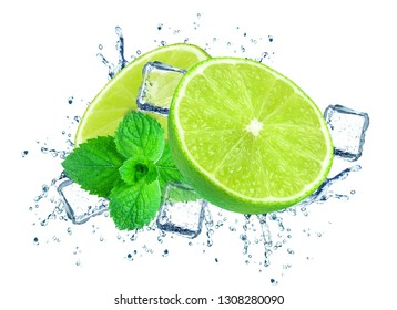 lime splash water and ice isolated on white
