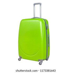 Lime suitcase isolated on white background. Polycarbonate suitcase isolated on white. Lime suitcase.