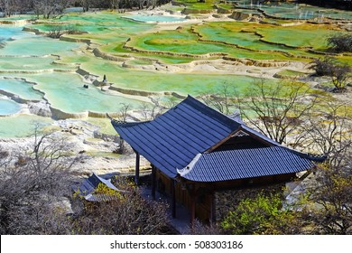 Lime terraces with lakes, Huanglong National Park, UNESCO World Heritage Site, Sichuan,  China
