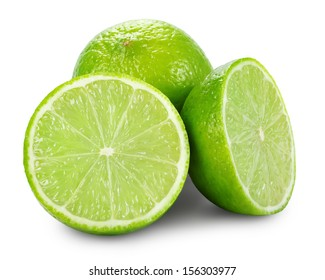 Lime with two halves isolated on white background