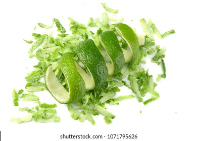 lime zest isolated on white background. healthy food