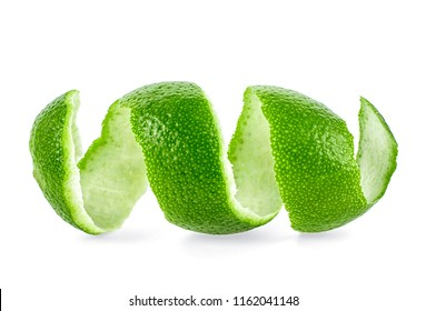Lime zest spiral isolated on white background