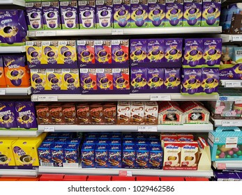 Limerick, Ireland - Feb 19th, 2018: Selection of chocolate Easter eggs on shelves in a supermarket.