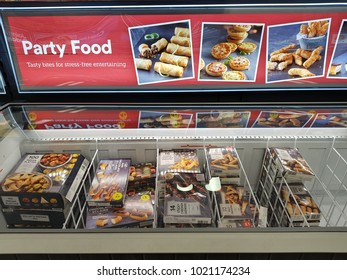 Limerick, Ireland - Feb 8th, 2018:  Iceland Store in Limerick, Ireland. Selection of various frozen party food produce