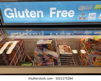 Limerick, Ireland - Feb 8th, 2018:  Iceland Store in Limerick, Ireland. Selection of various frozen gluten free produce