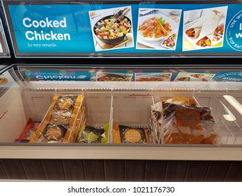 Limerick, Ireland - Feb 8th, 2018:  Iceland Store in Limerick, Ireland. Selection of various frozen cooked chicken produce