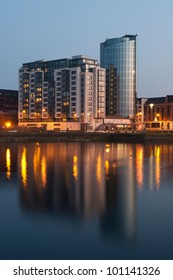 LIMERICK, IRELAND - MARCH 27: A night scene with Riverpoint buildings over Shannon river on March 27, 2012 in Limerick, Ireland. The ninth tallest building in Ireland with 58.52 meters completed in 2008.