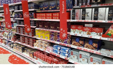 Limerick, Ireland - Nov 8th, 2017: Famous Christmas tradition in Ireland and the UK, giving Christmas chocolate selection boxes. Selection of chocolates and chocolate candy sweets on shelves in store