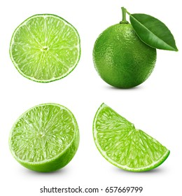 limes fruit collection isolated on white background