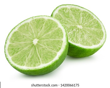 limes half isolated on white background. limes fruit Clipping Path. Quality macro photo