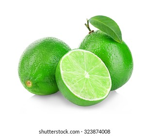 Limes isolated close-up on a white background