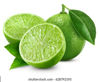 limes Isolated with leaf on white background