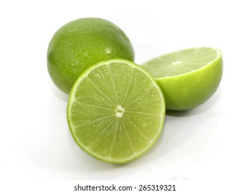 Limes isolated on a white background.