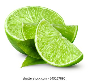 limes with leaf isolated on white background