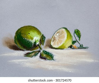 Limes on isolates background.Original pastel painting on paper