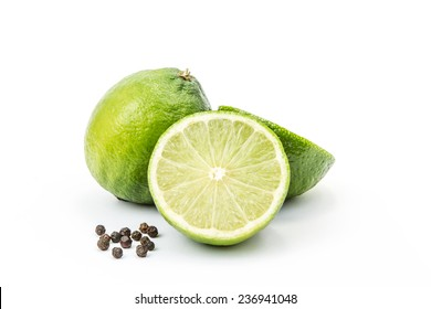 limes with peppercorns