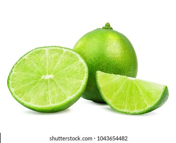 limes sliced with leaves isolated on a white background.