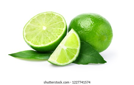 Limes with slices and leaves isolated on white background  with clipping path