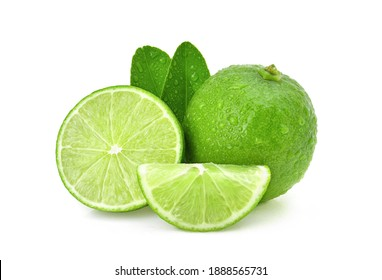 limes.Natural fresh lime with water drops and sliced, green leaf isolated on white background