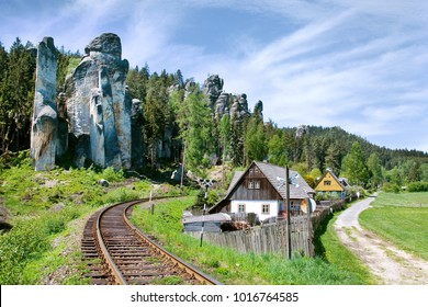 limestone Adrspach rock town - National park of Adrspach - Teplice rocks, East Bohemia, czech republic