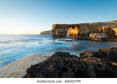Limestone arch, at sunset know as the Azure Window, in Dwerja, Gozo, Malta.