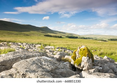 Limestone boulders and Ingleborough in the Yorkshire Dales