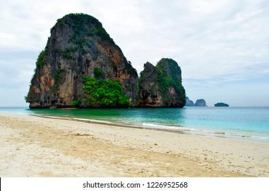 Limestone boulders at Phra Nang beach near Railay, Krabi province, Thailand