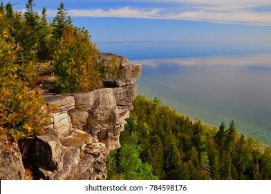 Limestone cliff face along the Bruce Trail near Lions Head, Ontario