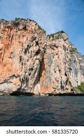 limestone cliffs around Phi-Phi island day time