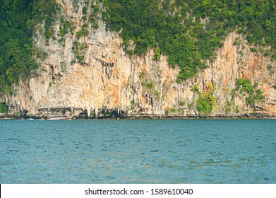 Limestone cliffs at the islands in Andaman Sea, the destinations for the cliffhangers, Krabi,Thailand.
