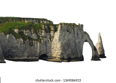 Limestone cliffs with natural arch near Etretat (Cote d'Albatre / Normandie / France) isolated on white background