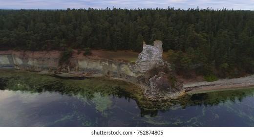 Limestone coastline on the island of Gotland in the Baltic sea in Sweden, Foggy morning