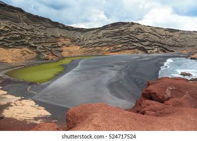 Limestone formations. Beach of El Golfo. Lanzarote island