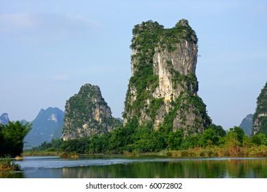 Limestone hills on the banks of the the Li-river, Yangshou, China